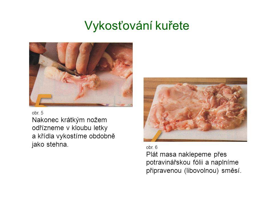 Vykosťování kuřete obr. 5 Nakonec krátkým nožem odřízneme v kloubu letky a křídla vykostíme obdobně jako stehna. obr. 6 Plát masa naklepeme přes potra