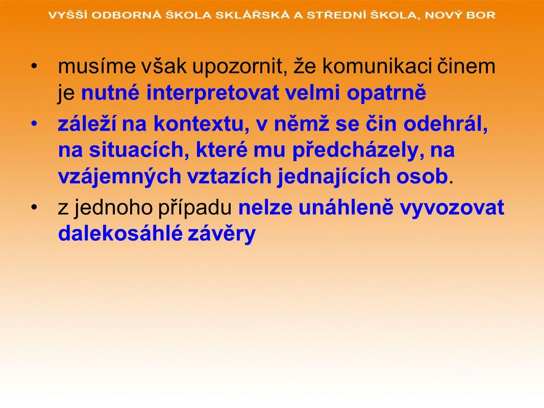 musíme však upozornit, že komunikaci činem je nutné interpretovat velmi opatrně záleží na kontextu, v němž se čin odehrál, na situacích, které mu předcházely, na vzájemných vztazích jednajících osob.