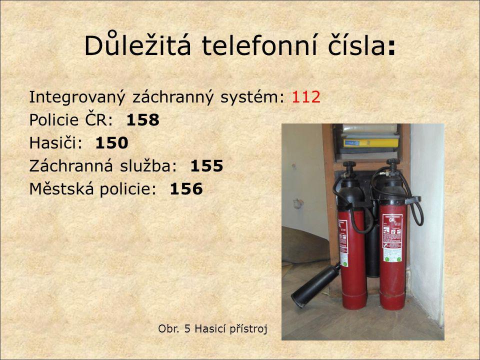 Důležitá telefonní čísla: Integrovaný záchranný systém: 112 Policie ČR: 158 Hasiči: 150 Záchranná služba: 155 Městská policie: 156 Obr. 5 Hasicí příst