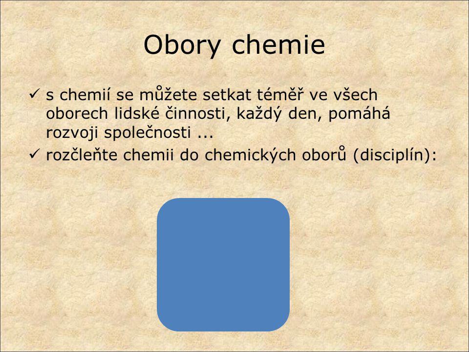 Obory chemie s chemií se můžete setkat téměř ve všech oborech lidské činnosti, každý den, pomáhá rozvoji společnosti... rozčleňte chemii do chemických
