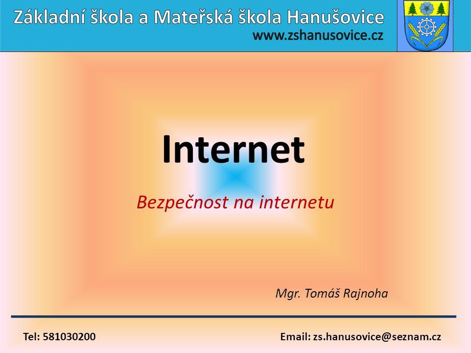 Tel: 581030200 Email: zs.hanusovice@seznam.cz Internet Bezpečnost na internetu Mgr. Tomáš Rajnoha