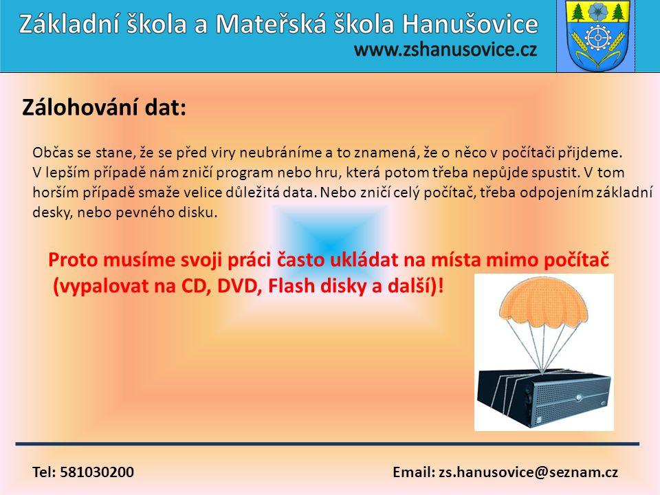 Tel: 581030200 Email: zs.hanusovice@seznam.cz Zálohování dat: Občas se stane, že se před viry neubráníme a to znamená, že o něco v počítači přijdeme.