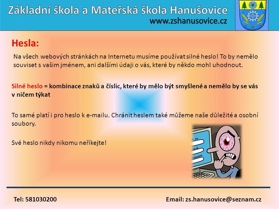 Tel: 581030200 Email: zs.hanusovice@seznam.cz Hesla: Na všech webových stránkách na Internetu musíme používat silné heslo! To by nemělo souviset s vaš