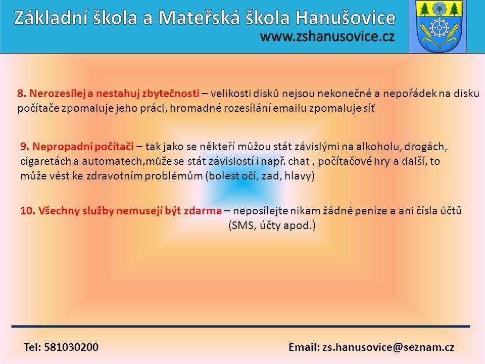 Tel: 581030200 Email: zs.hanusovice@seznam.cz 10. Všechny služby nemusejí být zdarma – neposílejte nikam žádné peníze a ani čísla účtů (SMS, účty apod