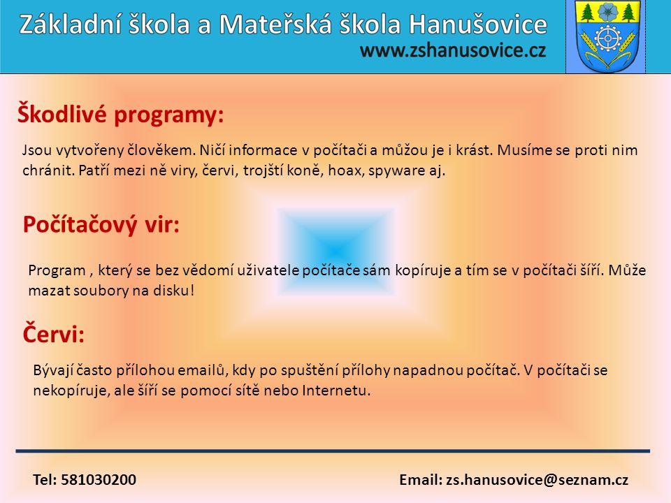 Tel: 581030200 Email: zs.hanusovice@seznam.cz Škodlivé programy: Jsou vytvořeny člověkem. Ničí informace v počítači a můžou je i krást. Musíme se prot