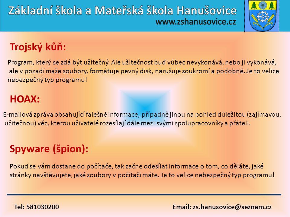 Tel: 581030200 Email: zs.hanusovice@seznam.cz Trojský kůň: Program, který se zdá být užitečný. Ale užitečnost buď vůbec nevykonává, nebo ji vykonává,