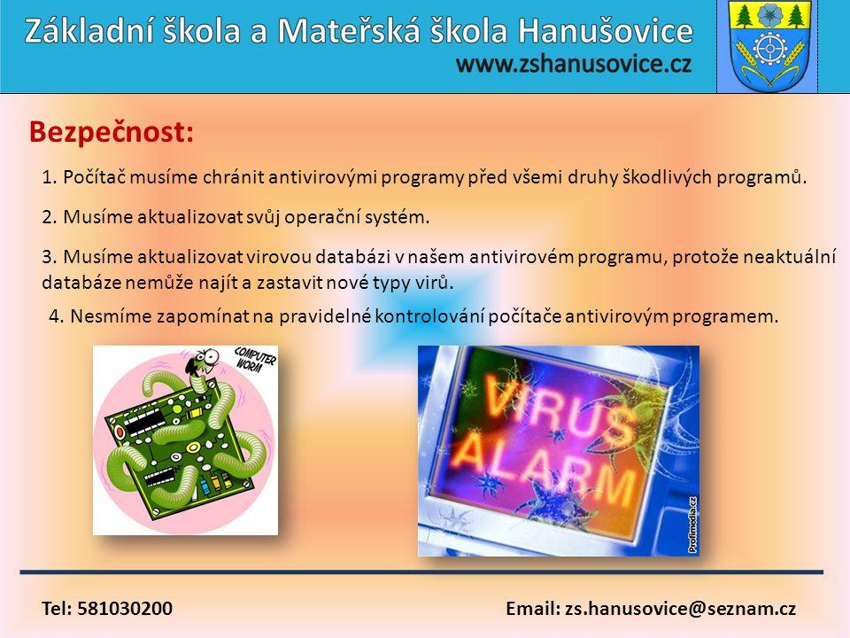 Tel: 581030200 Email: zs.hanusovice@seznam.cz Bezpečnost: 1. Počítač musíme chránit antivirovými programy před všemi druhy škodlivých programů. 2. Mus