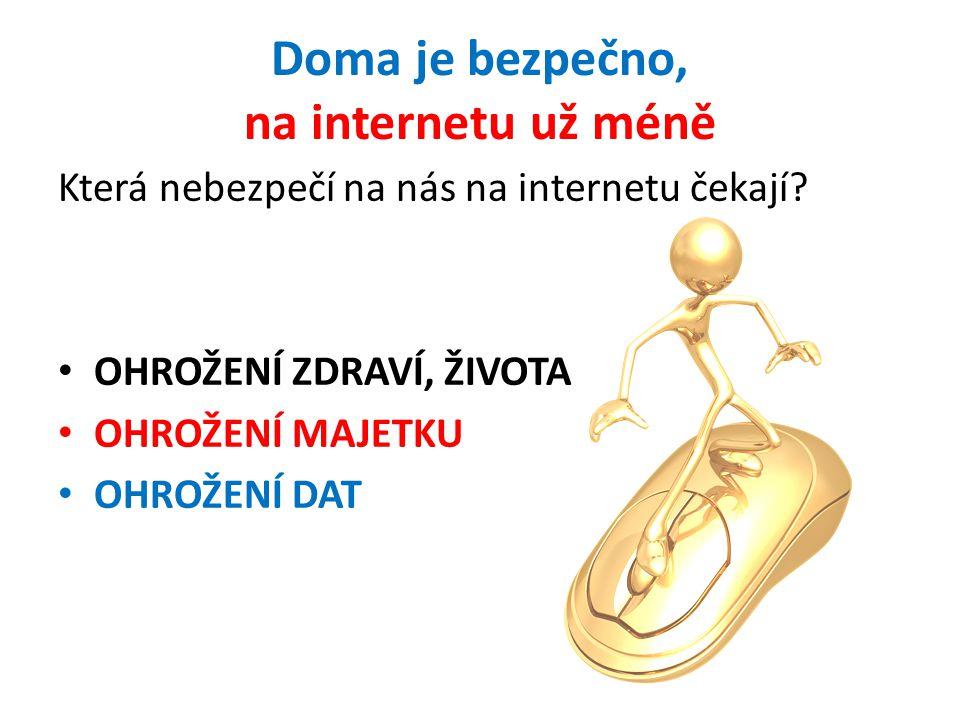 Doma je bezpečno, na internetu už méně Která nebezpečí na nás na internetu čekají? OHROŽENÍ ZDRAVÍ, ŽIVOTA OHROŽENÍ MAJETKU OHROŽENÍ DAT
