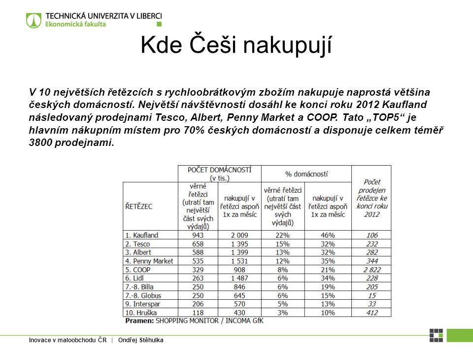 Inovace v maloobchodu ČR | Ondřej Stěhulka Kde Češi nakupují V 10 největších řetězcích s rychloobrátkovým zbožím nakupuje naprostá většina českých dom