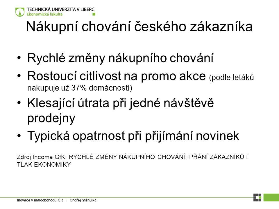 Inovace v maloobchodu ČR | Ondřej Stěhulka Nákupní chování českého zákazníka Rychlé změny nákupního chování Rostoucí citlivost na promo akce (podle le