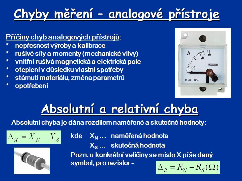 Chyby měření – analogové přístroje Příčiny chyb analogových přístrojů: *nepřesnost výroby a kalibrace *rušivé síly a momenty (mechanické vlivy) *vnitř