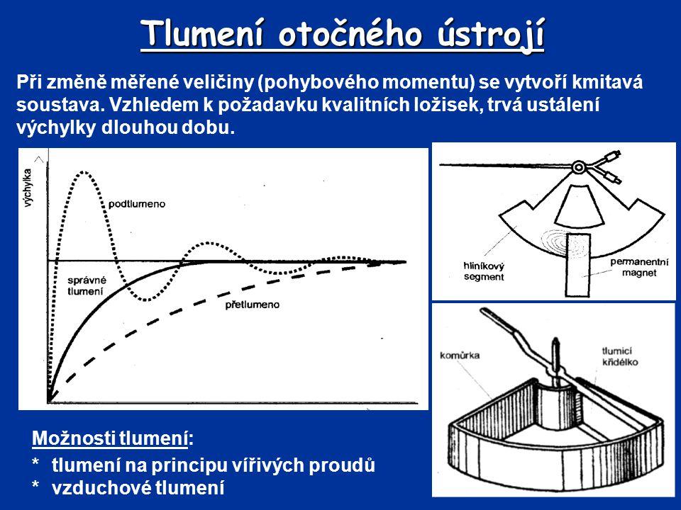 Tlumení otočného ústrojí Při změně měřené veličiny (pohybového momentu) se vytvoří kmitavá soustava. Vzhledem k požadavku kvalitních ložisek, trvá ust