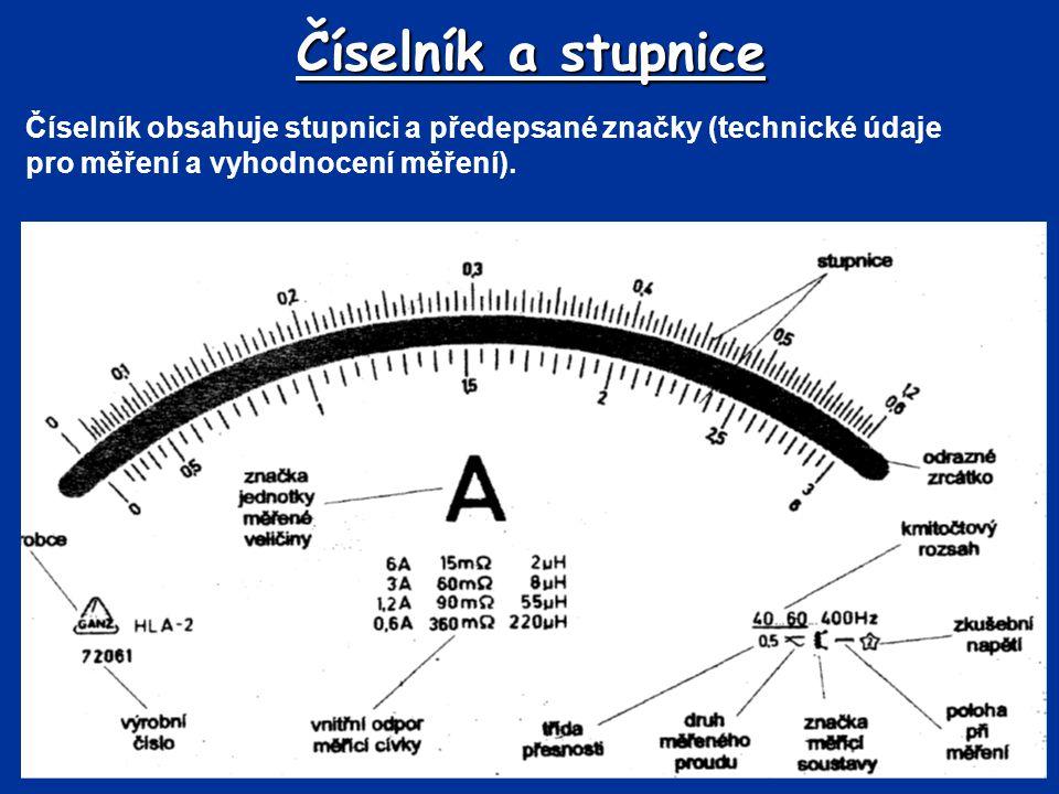 Číselník a stupnice Číselník obsahuje stupnici a předepsané značky (technické údaje pro měření a vyhodnocení měření).
