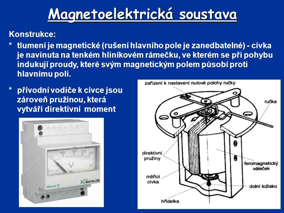 Magnetoelektrická soustava *přívodní vodiče k cívce jsou zároveň pružinou, která vytváří direktivní moment Konstrukce: *tlumení je magnetické (rušení
