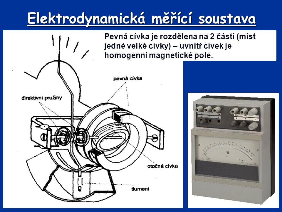 Elektrodynamická měřící soustava Pevná cívka je rozdělena na 2 části (míst jedné velké cívky) – uvnitř cívek je homogenní magnetické pole.