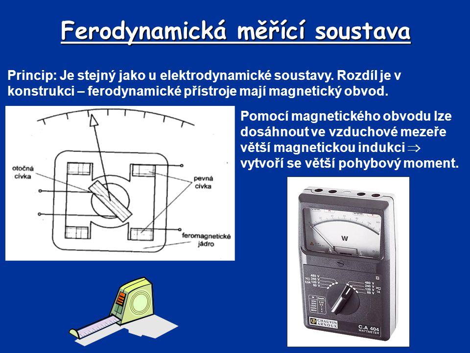 Ferodynamická měřící soustava Princip: Je stejný jako u elektrodynamické soustavy. Rozdíl je v konstrukci – ferodynamické přístroje mají magnetický ob