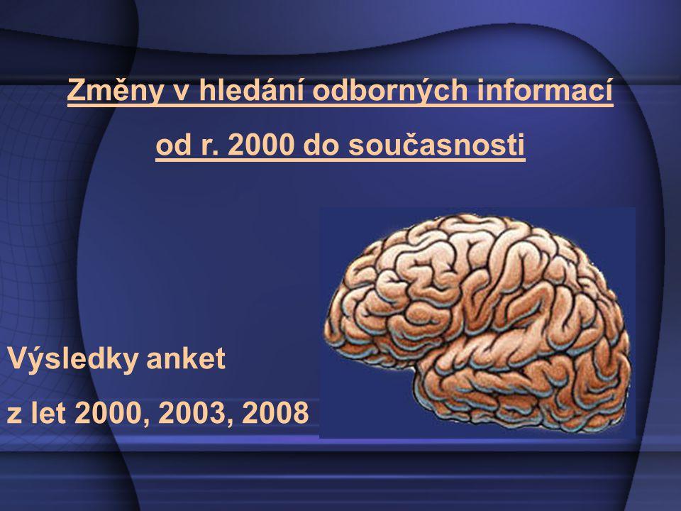 """2000 """"Poskytuje vám počítač knihovnické informace? (1131 respondentů) 2003 """"Využíváte elektronické informační zdroje? (1712 respondentů) 2008 """"Kde a jak hledáte odborné informace? (2056 respondentů)"""