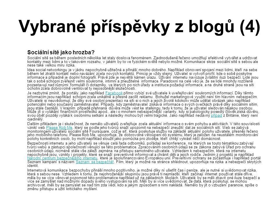 Vybrané příspěvky z blogů (4) Sociální sítě jako hrozba.