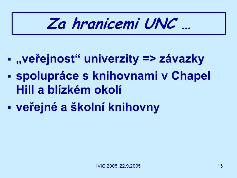 """IVIG 2005, 22.9.200513 Za hranicemi UNC …  """"veřejnost univerzity => závazky  spolupráce s knihovnami v Chapel Hill a blízkém okolí  veřejné a školní knihovny"""