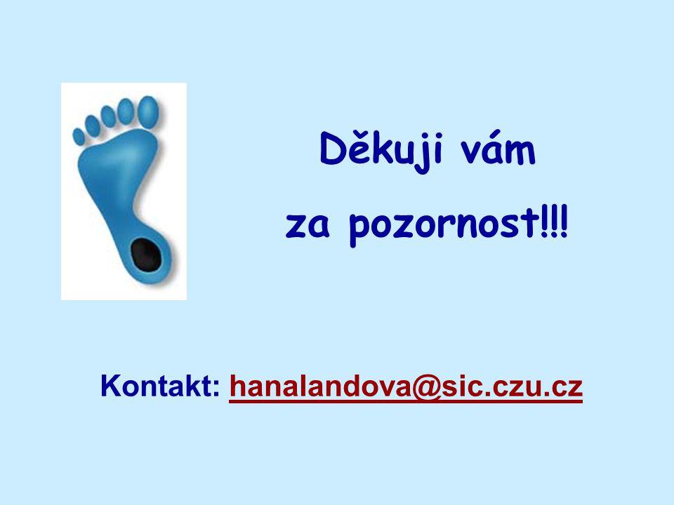 Děkuji vám za pozornost!!! Kontakt: hanalandova@sic.czu.czhanalandova@sic.czu.cz