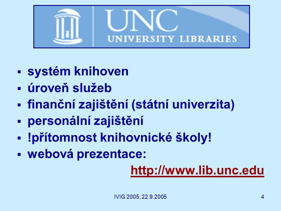 IVIG 2005, 22.9.20054  systém knihoven  úroveň služeb  finanční zajištění (státní univerzita)  personální zajištění  !přítomnost knihovnické školy.