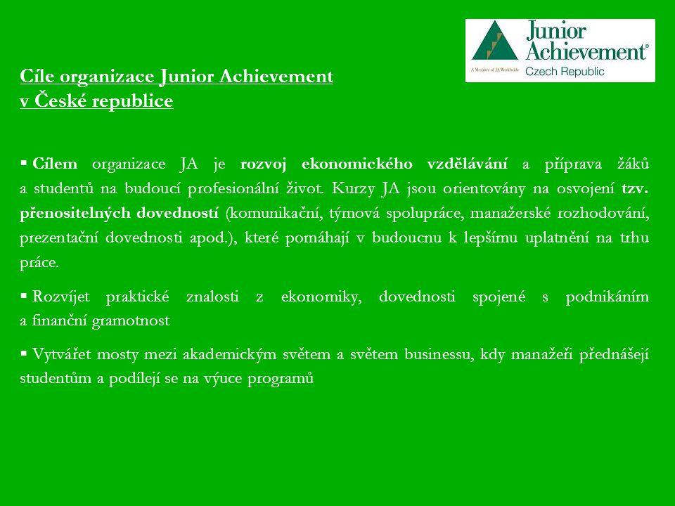 Cíle organizace Junior Achievement v České republice  Cílem organizace JA je rozvoj ekonomického vzdělávání a příprava žáků a studentů na budoucí profesionální život.