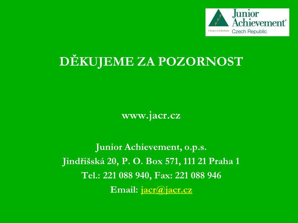 DĚKUJEME ZA POZORNOST www.jacr.cz Junior Achievement, o.p.s.