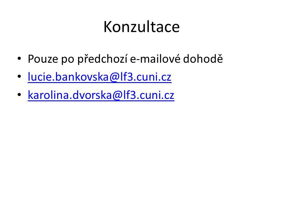Konzultace Pouze po předchozí e-mailové dohodě lucie.bankovska@lf3.cuni.cz karolina.dvorska@lf3.cuni.cz