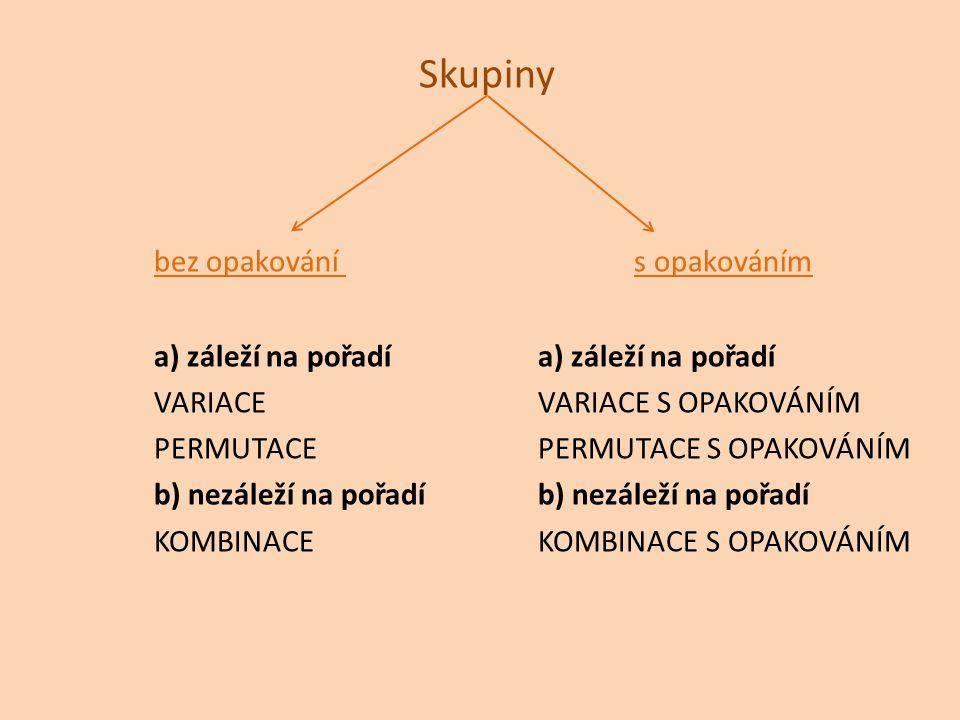Skupiny bez opakovánís opakováníma) záleží na pořadí VARIACEVARIACE S OPAKOVÁNÍM PERMUTACEPERMUTACE S OPAKOVÁNÍMb) nezáleží na pořadí KOMBINACEKOMBINA
