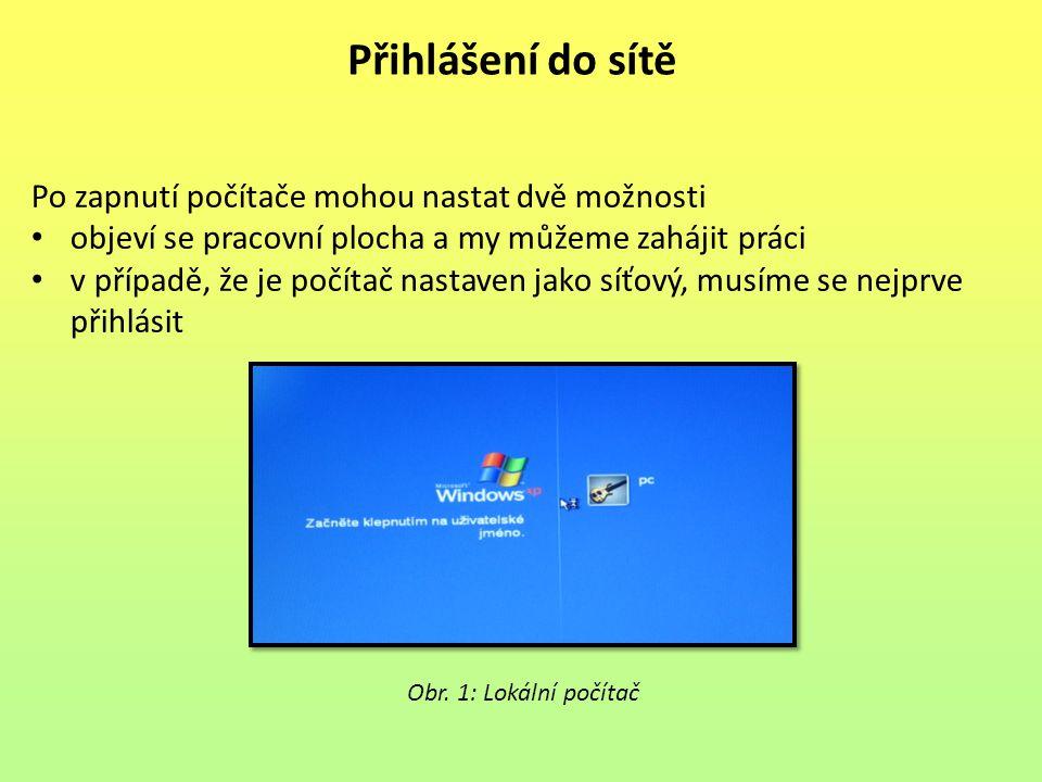 Přihlášení do sítě Jedná-li se o síťový (doménový) počítač může být několik variant na počítači je pouze jeden uživatelský účet, vybereme ho klepnutím může se nám zobrazit seznam uživatelů počítače a my si klepnutím myší na jméno vybereme jednu z možností místo seznamu uživatelských jmen se může zobrazit dialogové okno, do kterého napíšeme uživatelské jméno a heslo Obr.