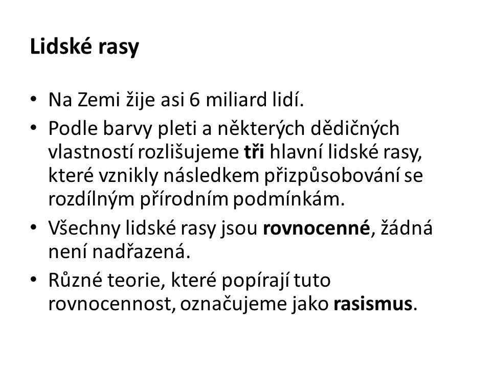2.Doplň tvrzení: Většina obyvatel ČR jsou příslušníci bílé rasy.