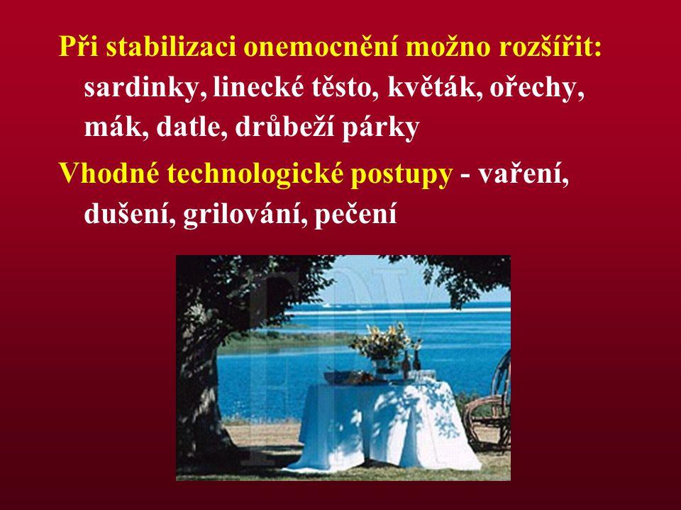 Při stabilizaci onemocnění možno rozšířit: sardinky, linecké těsto, květák, ořechy, mák, datle, drůbeží párky Vhodné technologické postupy - vaření, d