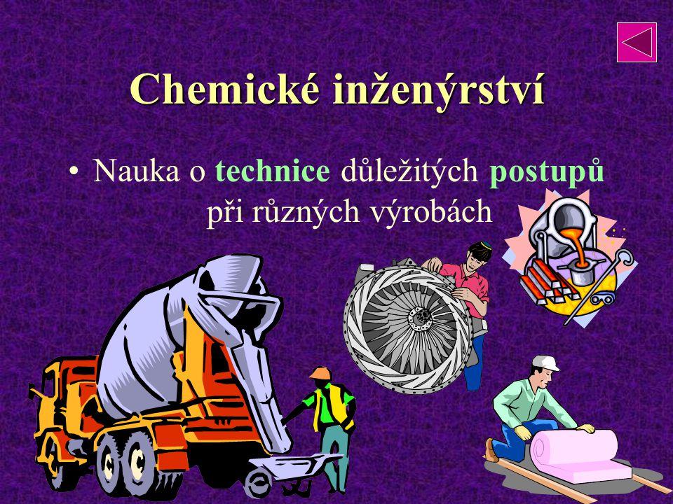Chemické inženýrství Nauka o technice důležitých postupů při různých výrobách