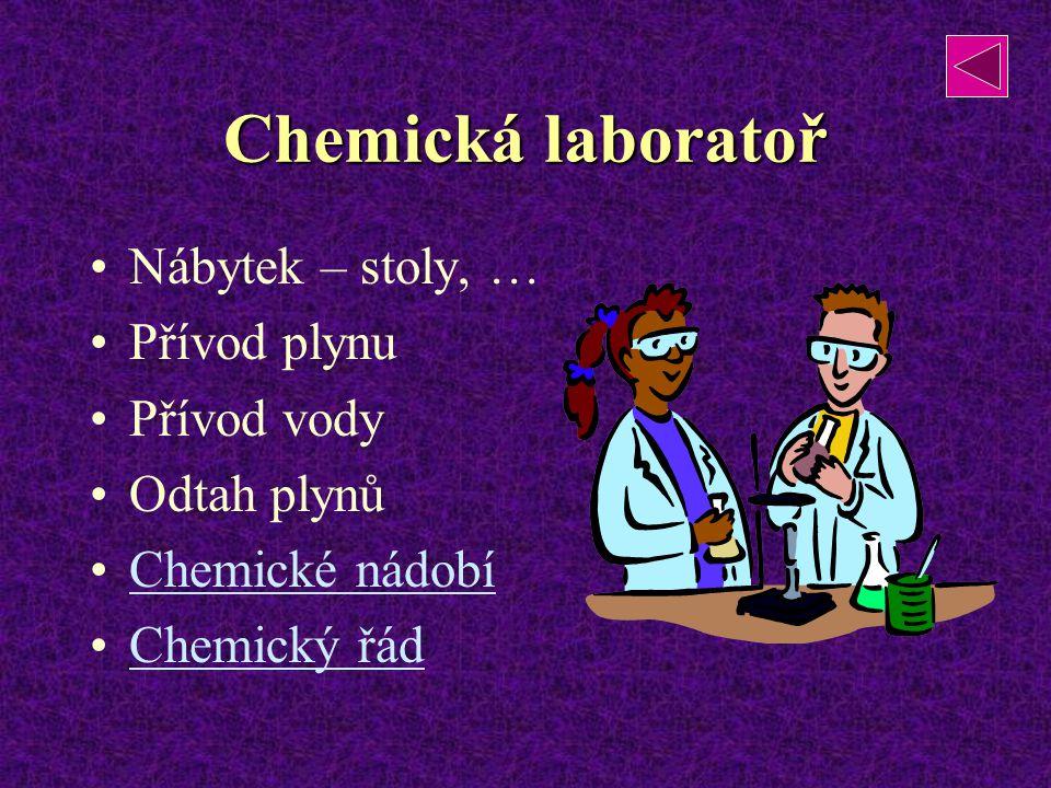 Chemická laboratoř Nábytek – stoly, … Přívod plynu Přívod vody Odtah plynů Chemické nádobí Chemický řád