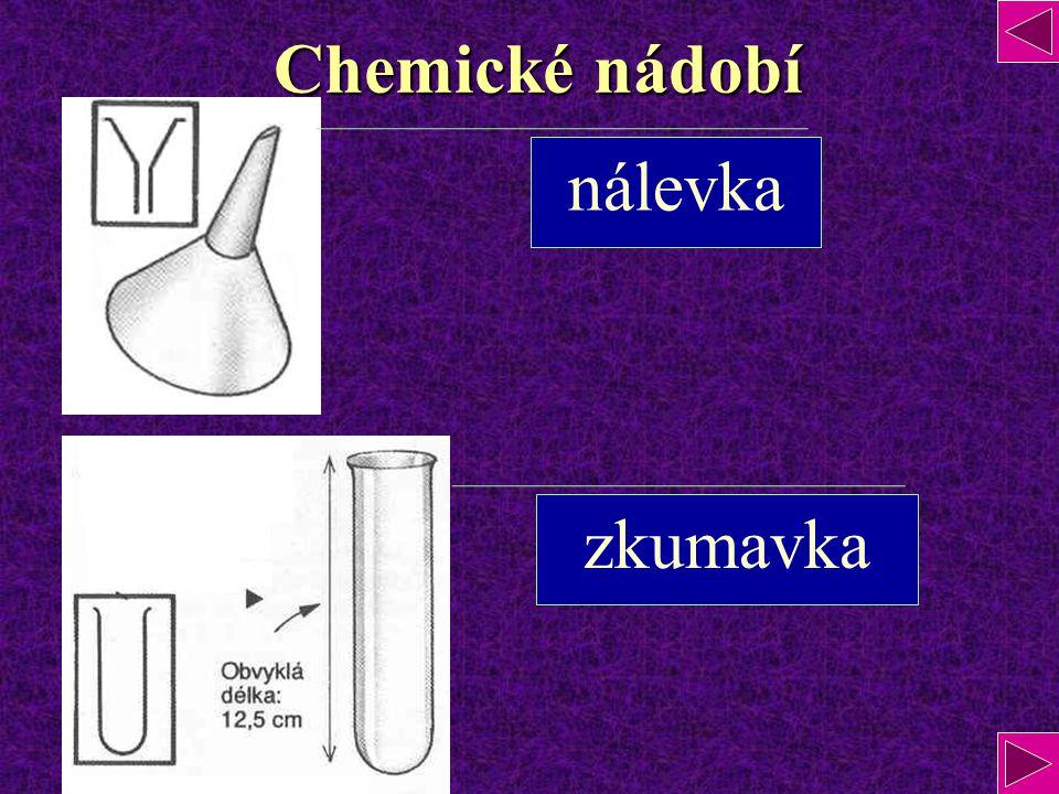 Chemické nádobí nálevka zkumavka