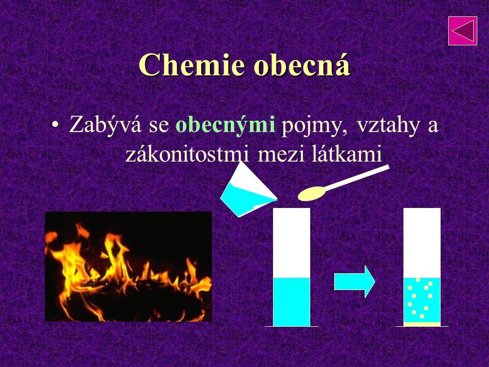 Chemie obecná Zabývá se obecnými pojmy, vztahy a zákonitostmi mezi látkami