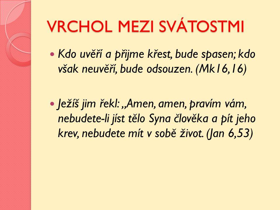 """VRCHOL MEZI SVÁTOSTMI Kdo uvěří a přijme křest, bude spasen; kdo však neuvěří, bude odsouzen. (Mk16,16) Ježíš jim řekl: """"Amen, amen, pravím vám, nebud"""