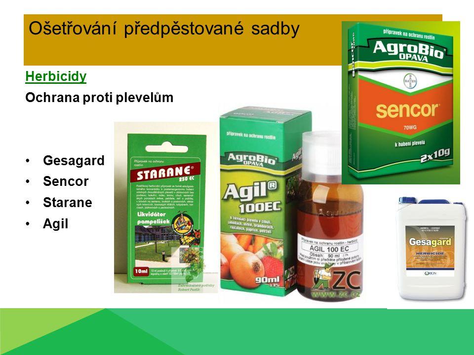 Ošetřování předpěstované sadby Herbicidy Ochrana proti plevelům Gesagard Sencor Starane Agil