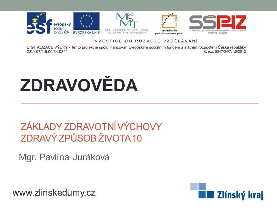 ZÁKLADY ZDRAVOTNÍ VÝCHOVY ZDRAVÝ ZPŮSOB ŽIVOTA 10 Mgr. Pavlína Juráková ZDRAVOVĚDA www.zlinskedumy.cz
