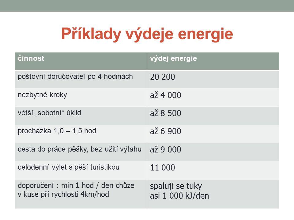 """Příklady výdeje energie činnostvýdej energie poštovní doručovatel po 4 hodinách 20 200 nezbytné kroky až 4 000 větší """"sobotní"""" úklid až 8 500 procházk"""