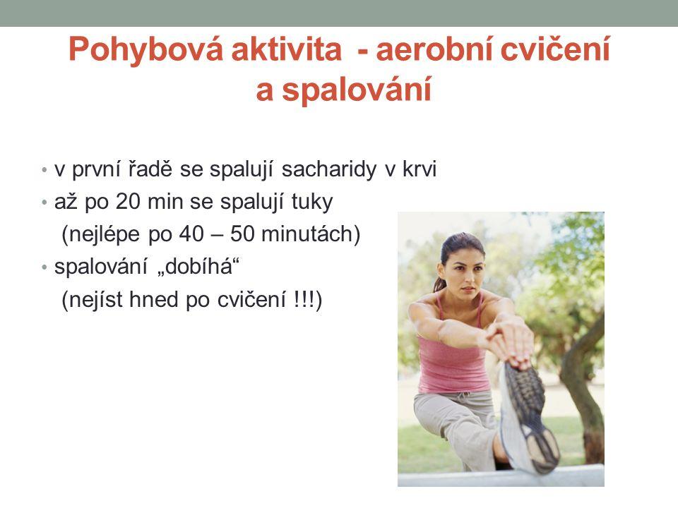 Pohybová aktivita - aerobní cvičení a spalování v první řadě se spalují sacharidy v krvi až po 20 min se spalují tuky (nejlépe po 40 – 50 minutách) sp