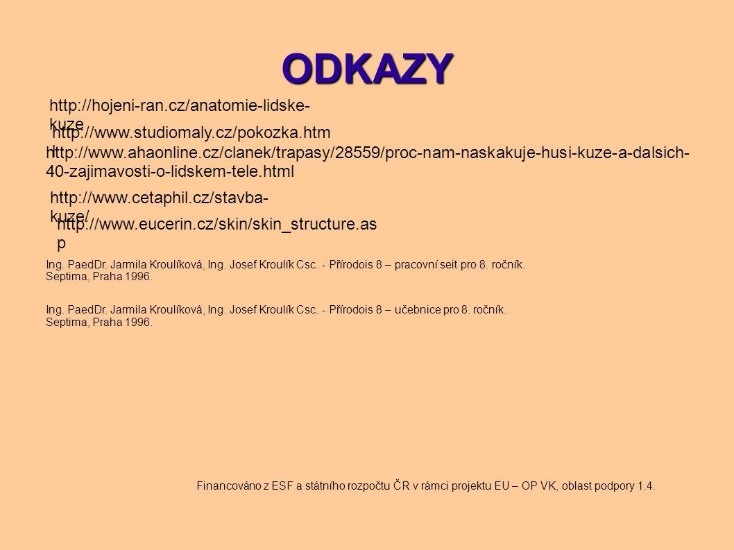 ODKAZY http://hojeni-ran.cz/anatomie-lidske- kuze http://www.studiomaly.cz/pokozka.htm l http://www.ahaonline.cz/clanek/trapasy/28559/proc-nam-naskaku