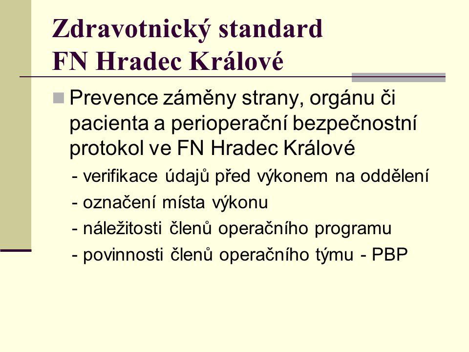 Zdravotnický standard FN Hradec Králové Prevence záměny strany, orgánu či pacienta a perioperační bezpečnostní protokol ve FN Hradec Králové - verifik