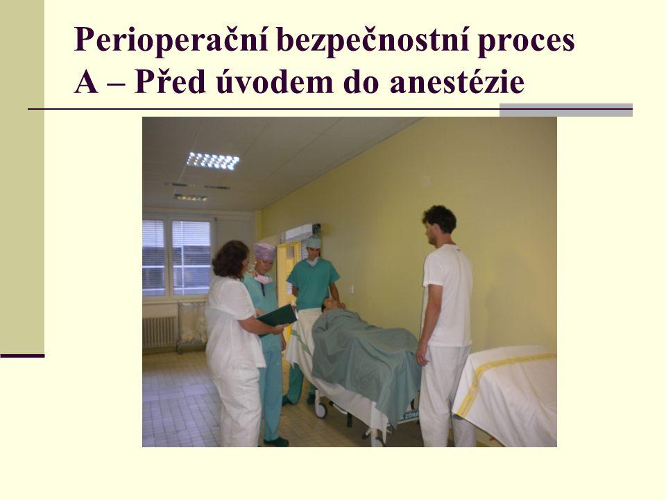 Perioperační bezpečnostní proces A – Před úvodem do anestézie
