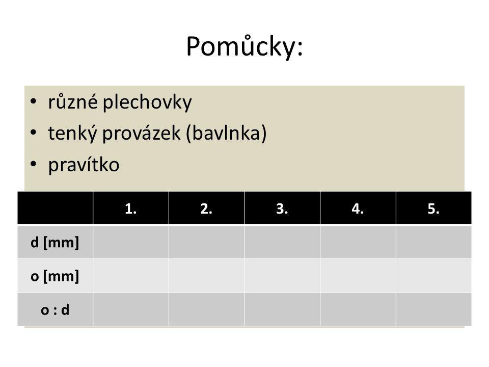 Pomůcky: různé plechovky tenký provázek (bavlnka) pravítko 1.2.3.4.5. d [mm] o [mm] o : d