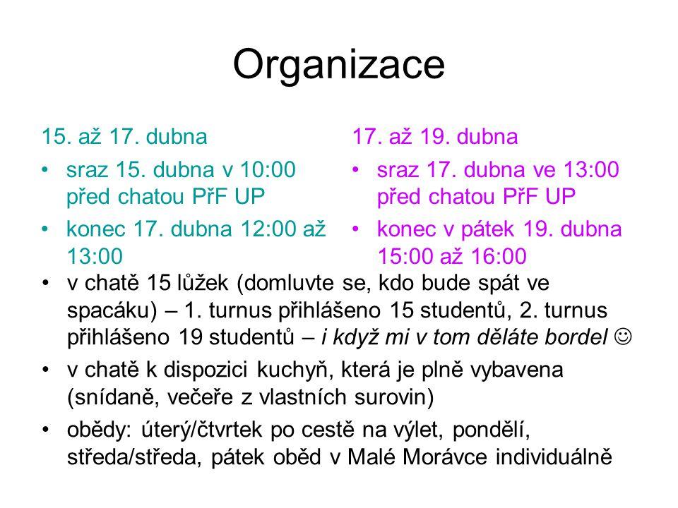 Organizace 15. až 17. dubna sraz 15. dubna v 10:00 před chatou PřF UP konec 17.