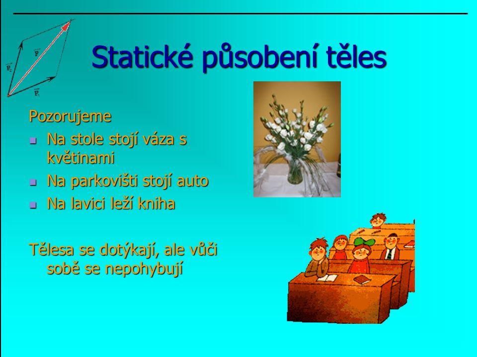 Statické působení těles Pozorujeme Na stole stojí váza s květinami Na stole stojí váza s květinami Na parkovišti stojí auto Na parkovišti stojí auto N