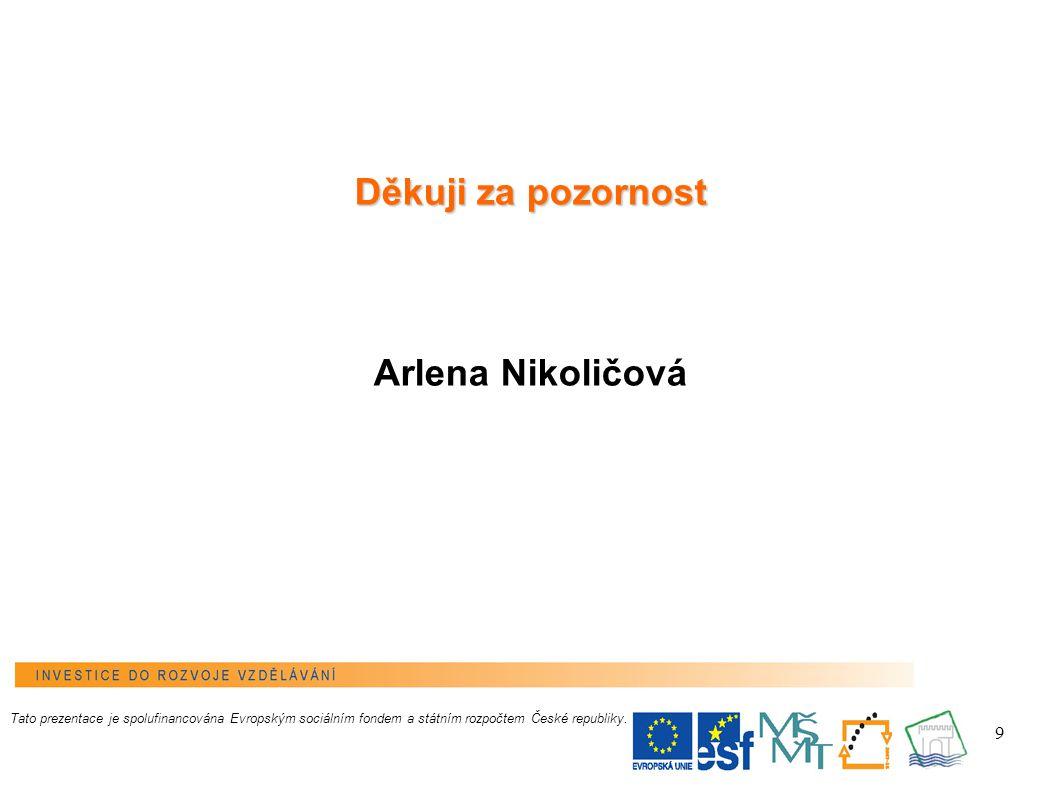 9 Tato prezentace je spolufinancována Evropským sociálním fondem a státním rozpočtem České republiky.