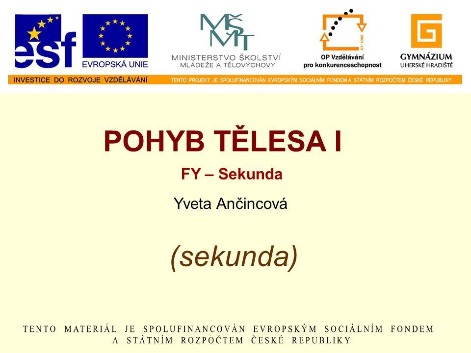 (sekunda) POHYB TĚLESA I FY – Sekunda Yveta Ančincová