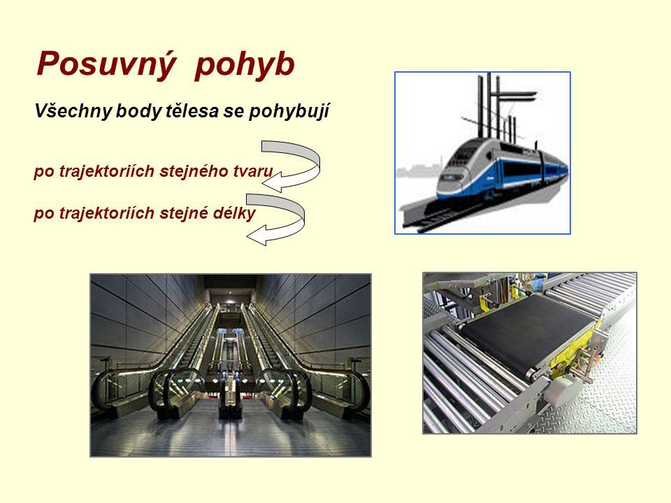 Posuvný pohyb Všechny body tělesa se pohybují po trajektoriích stejného tvaru po trajektoriích stejné délky